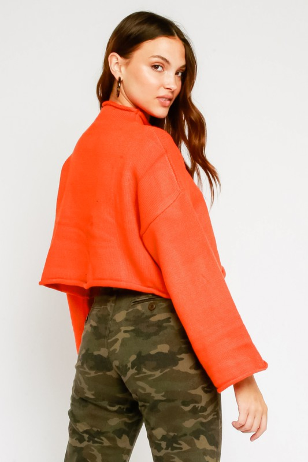 Olivaceous  Mock Neck Fluted Sleeve Sweater - Side Cropped Image
