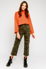 Olivaceous  Mock Neck Fluted Sleeve Sweater - Back cropped