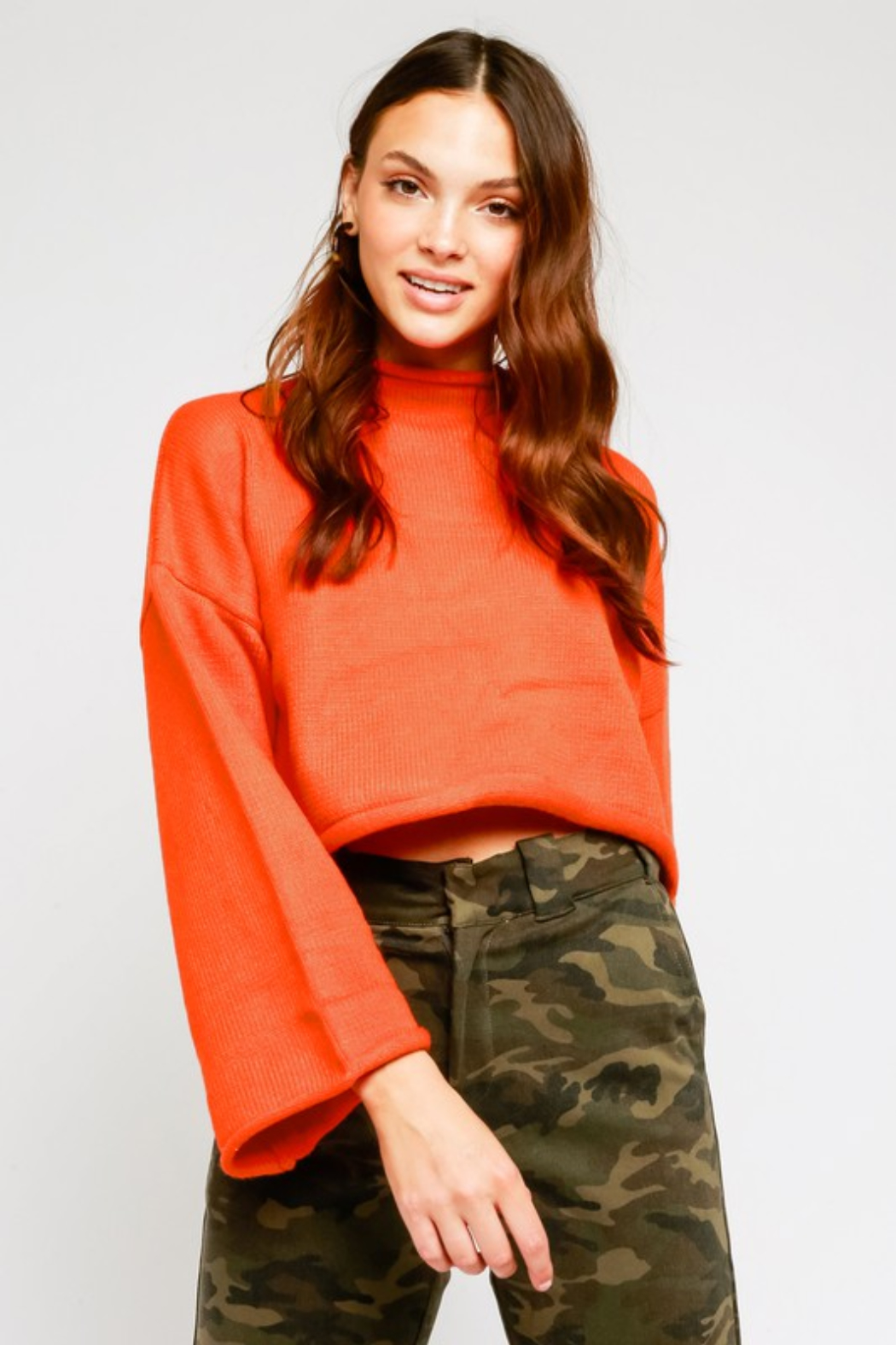 Olivaceous  Mock Neck Fluted Sleeve Sweater - Main Image