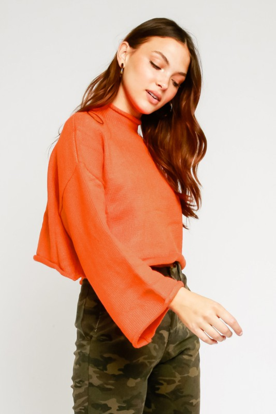 Olivaceous  Mock Neck Fluted Sleeve Sweater - Front Full Image