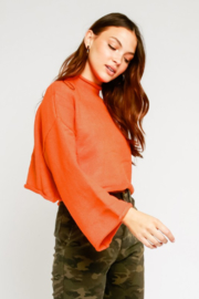 Olivaceous  Mock Neck Fluted Sleeve Sweater - Front full body
