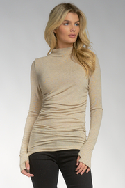 Elan  MOCK NECK L/S ROUCHED TOP - Product Mini Image