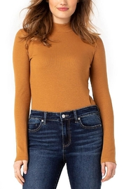 Liverpool  MOCK NECK LONG SLEEVE RIB KNIT TEE - Front cropped