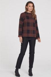 Tribal  Mock Neck Plaid Pattern Sweater - Front cropped