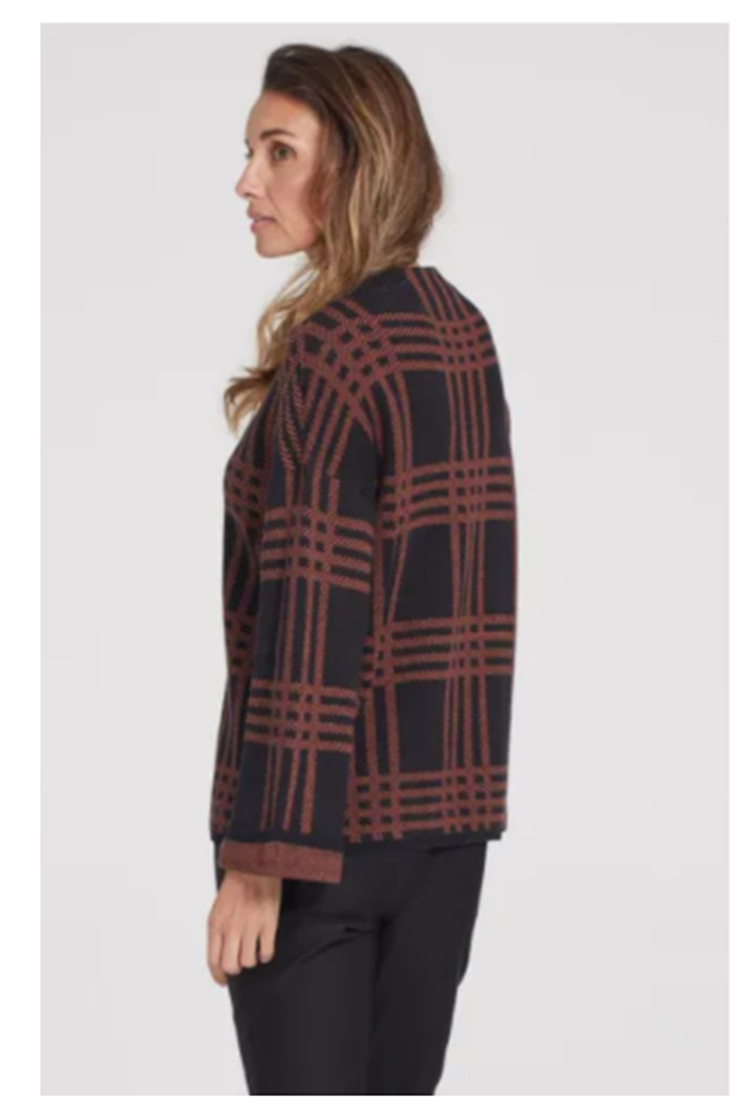 Tribal  Mock Neck Plaid Pattern Sweater - Front Full Image