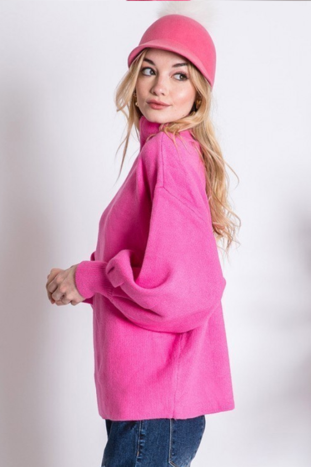 Love Tree  Mock Neck Puff Sleeve Sweater - Side Cropped Image