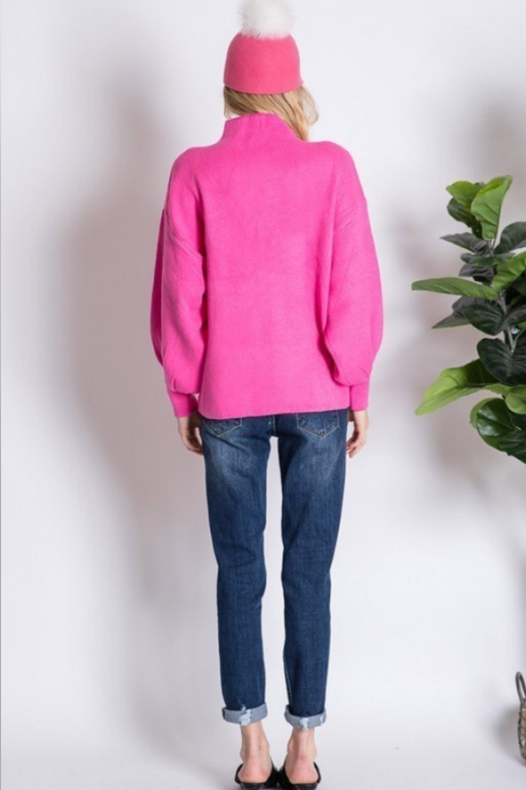 Love Tree  Mock Neck Puff Sleeve Sweater - Back Cropped Image