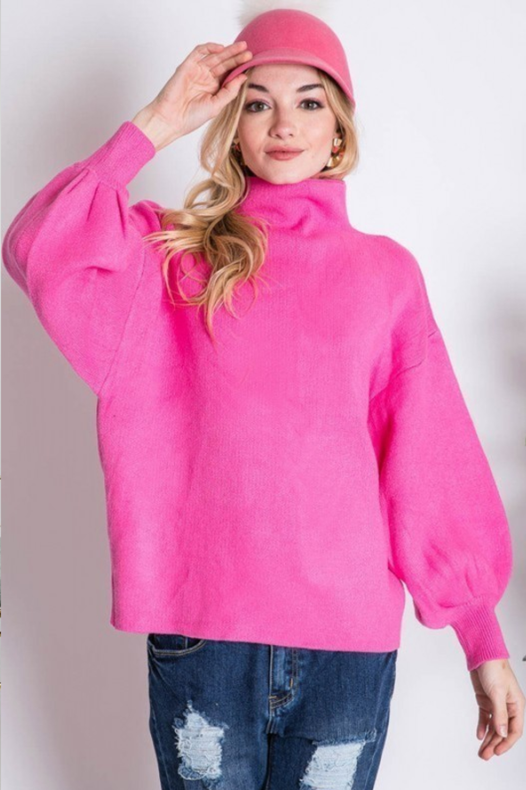 Love Tree  Mock Neck Puff Sleeve Sweater - Front Full Image