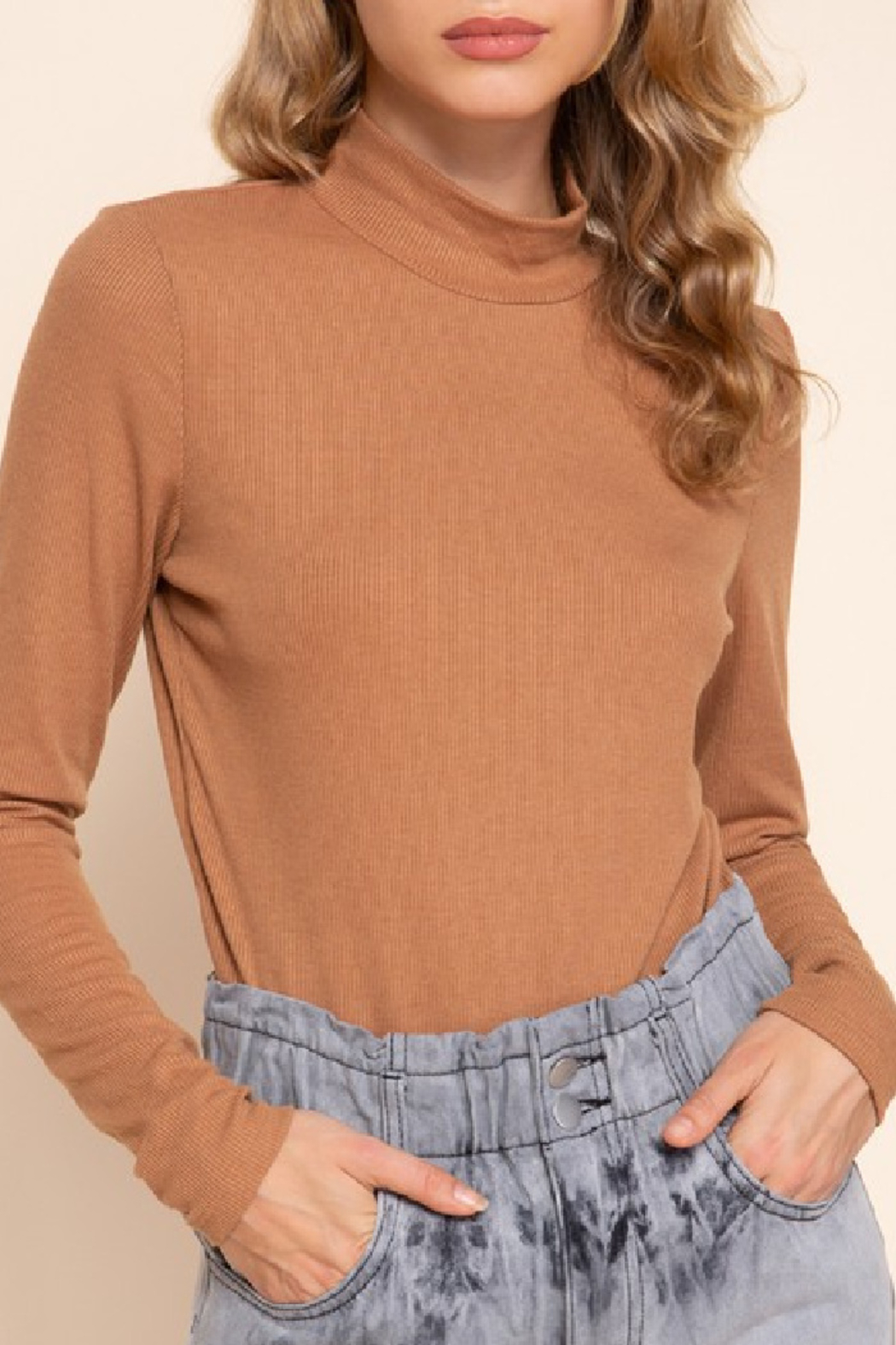 Mittoshop Mock Neck Ribbed Top - Front Cropped Image