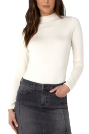 Liverpool Los Angeles  Mock Neck Rolled Hem Long Sleeve Sweater - Front cropped