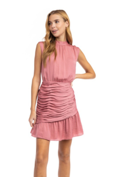 Naked Zebra Mock Neck Ruched Skirt Dress - Product List Image