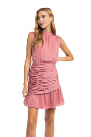 Naked Zebra Mock Neck Ruched Skirt Dress - Product Mini Image