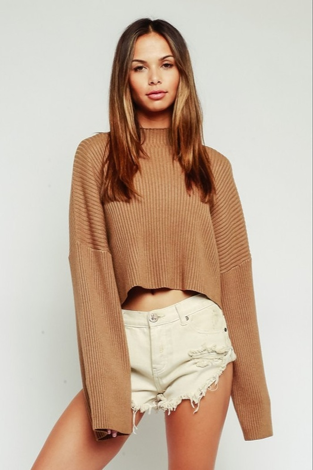 Olivaceous  Mock Neck Sweater - Front Cropped Image