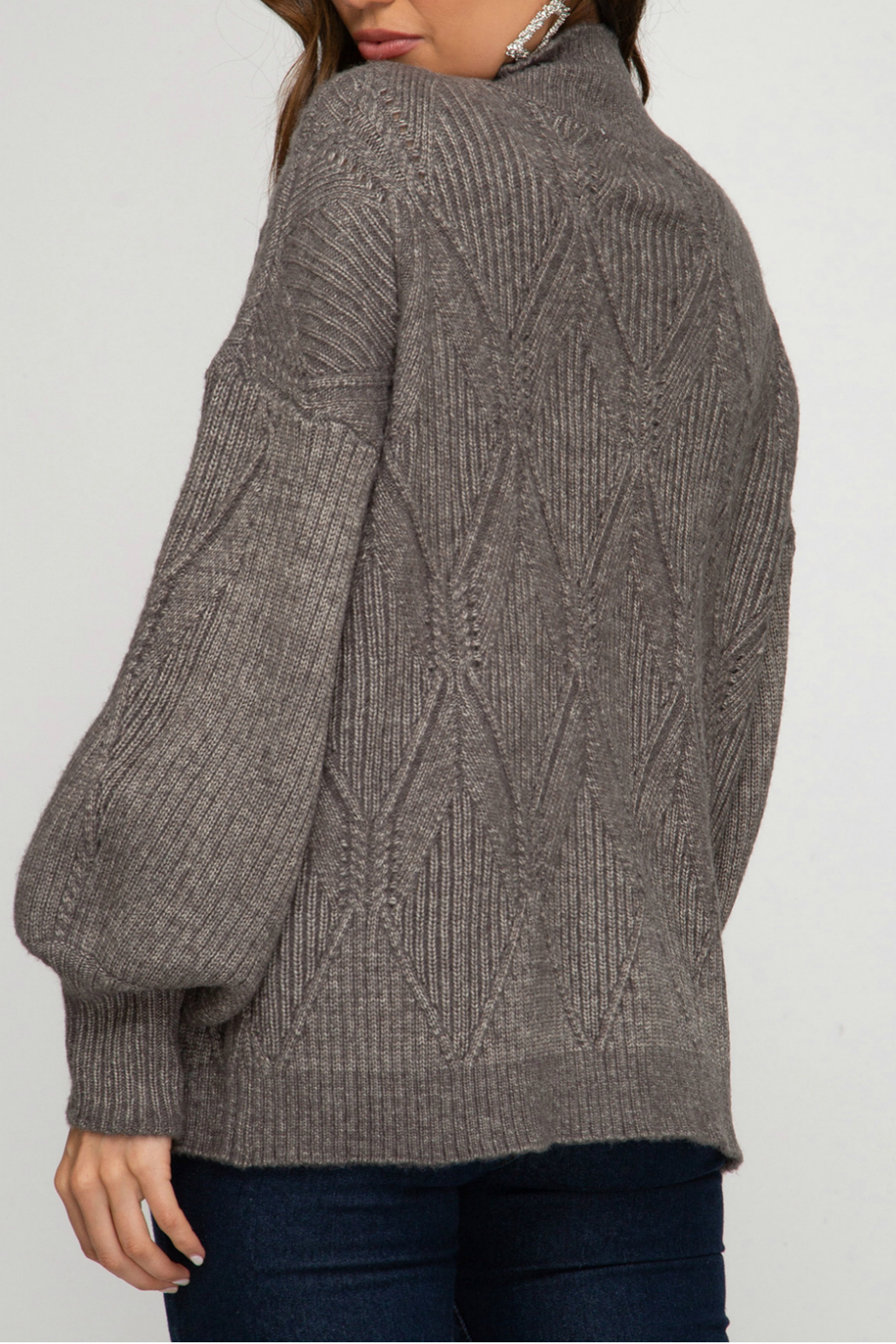 She and Sky Mock Neck Sweater - Front Full Image