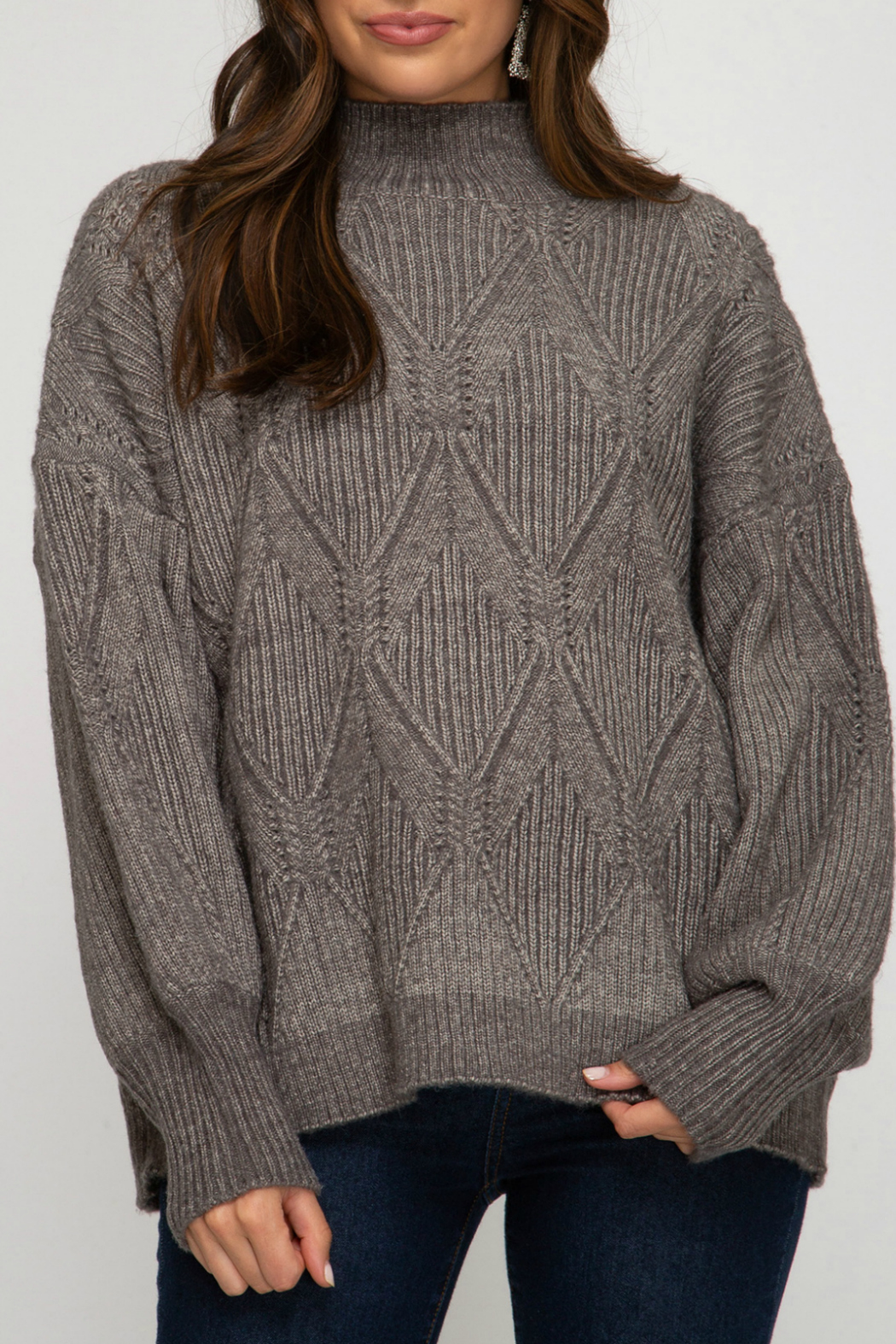 She and Sky Mock Neck Sweater - Main Image