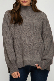 She and Sky Mock Neck Sweater - Front cropped