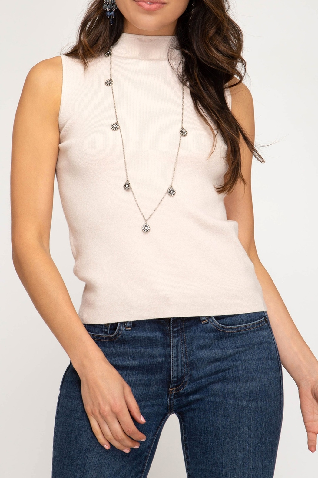 She + Sky Mock Neck Sweater Tank - Front Cropped Image