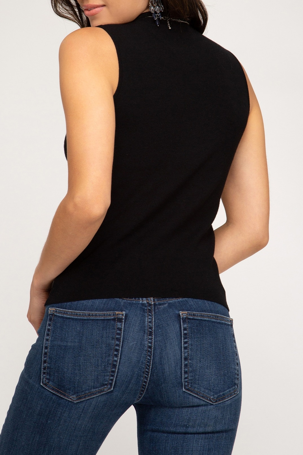 She + Sky Mock Neck Sweater Tank - Front Full Image