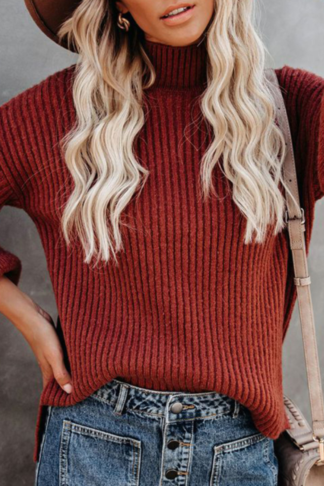 Esley Collection Mock Neckline Balloon Long Sleeve Sweater Top - Side Cropped Image