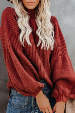 Esley Collection Mock Neckline Balloon Long Sleeve Sweater Top - Product List Image