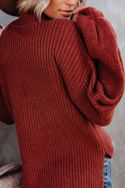 Esley Collection Mock Neckline Balloon Long Sleeve Sweater Top - Back cropped