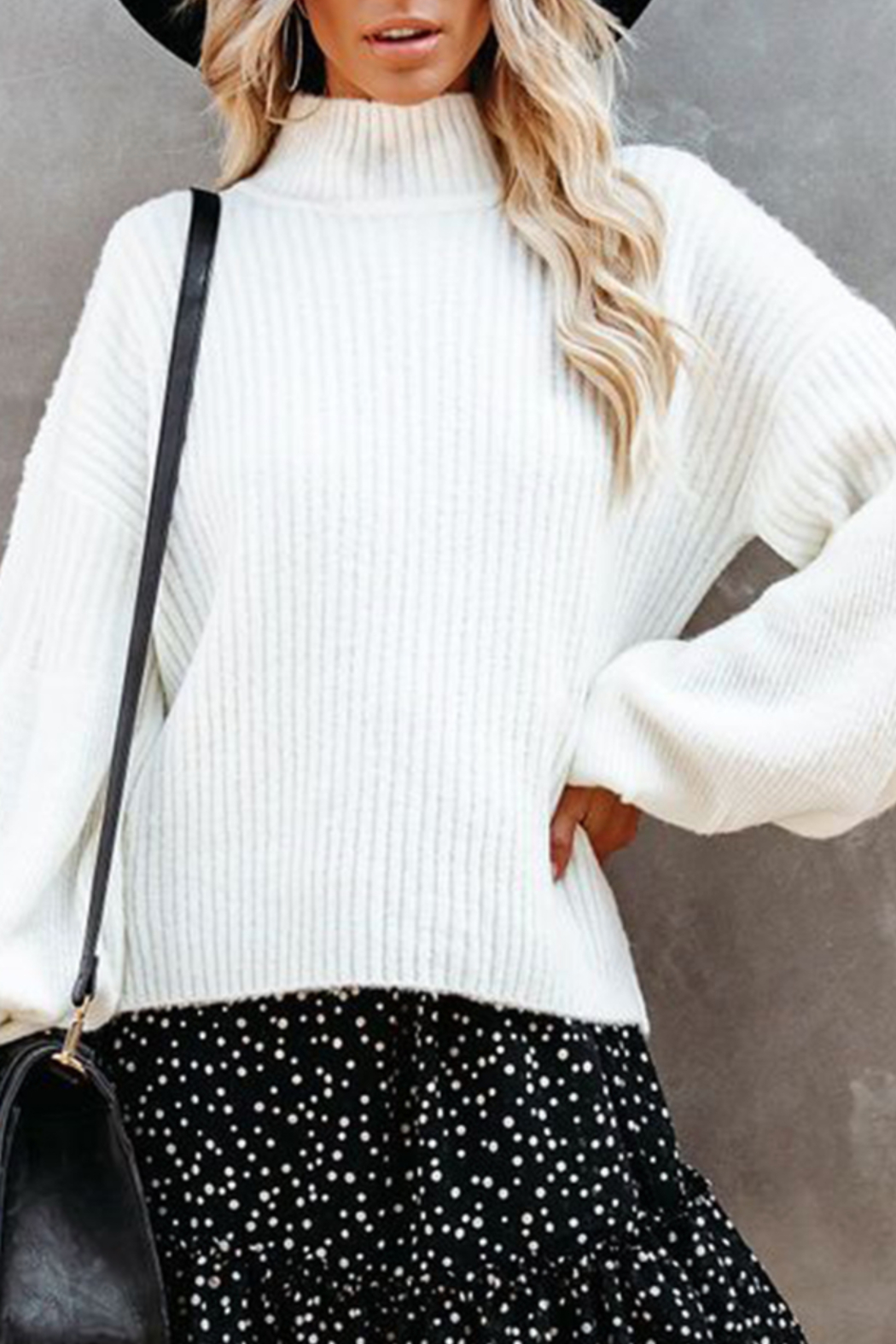 Esley Collection Mock Neckline Balloon Long Sleeve Sweater Top - Front Cropped Image