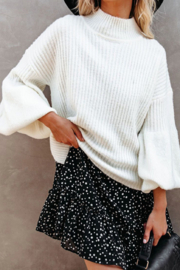 Esley Collection Mock Neckline Balloon Long Sleeve Sweater Top - Front full body