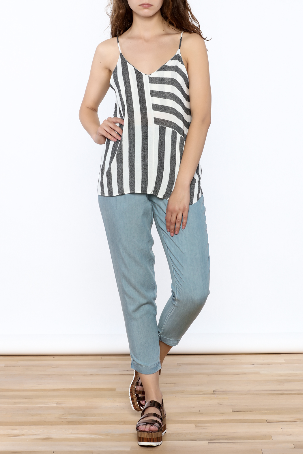 Mod Ref Marled Stripe Tank - Front Full Image