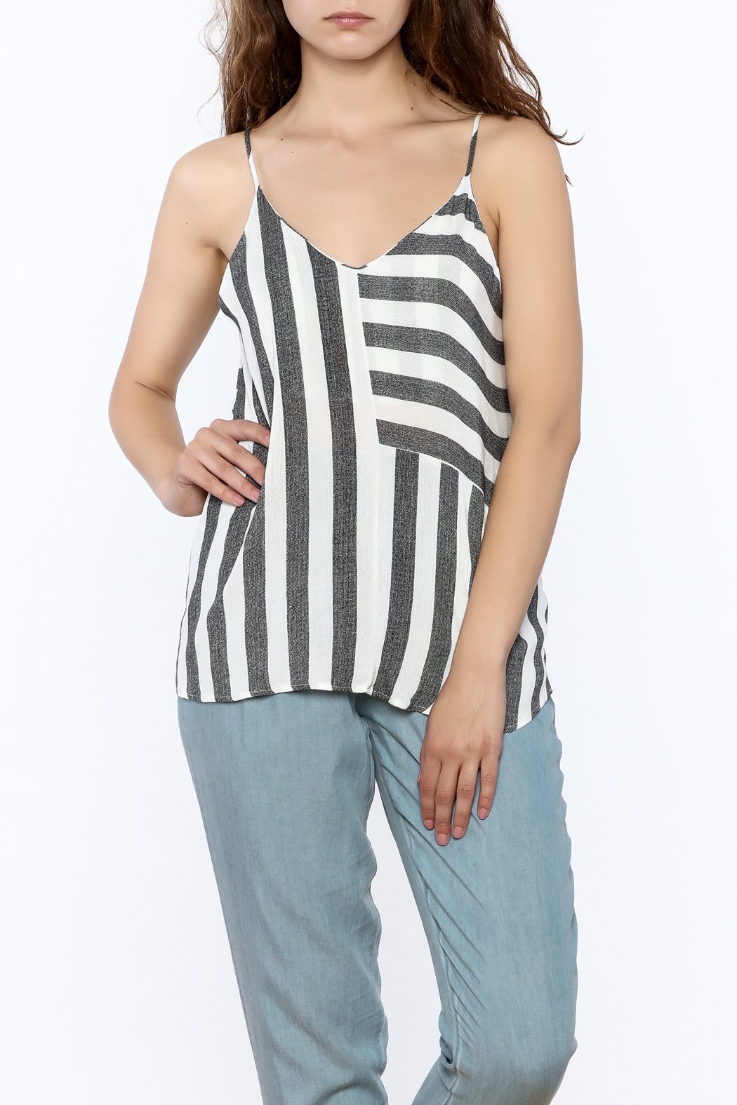 Mod Ref Marled Stripe Tank - Front Cropped Image