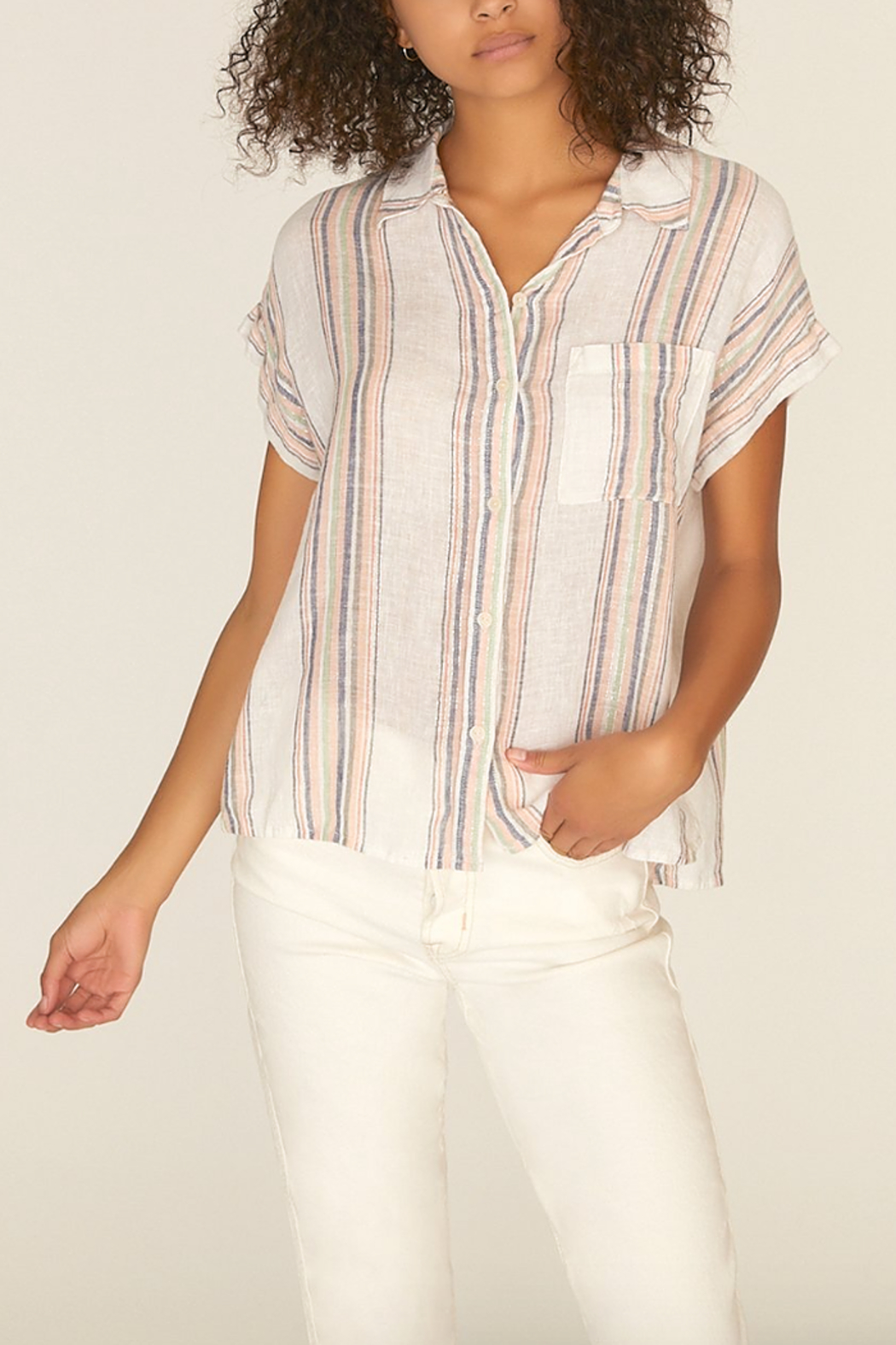 Sanctuary Mod Short Sleeve Boyfriend Shirt - Side Cropped Image