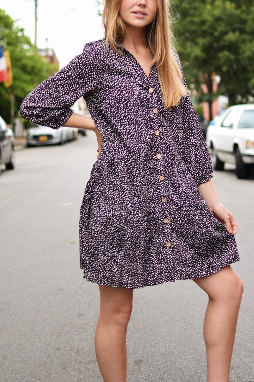 MOD&SOUL Button-Down Tunic Dress - Front Full Image
