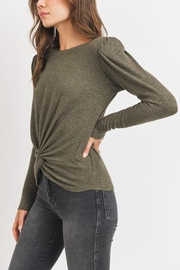 MOD&SOUL Front-Twist Padded-Shoulder Top - Front full body