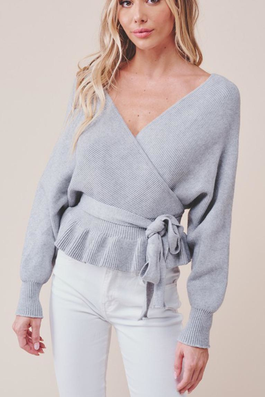 MOD&SOUL Grey Peplum Sweater - Main Image