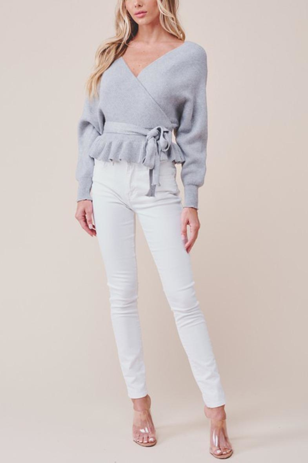 MOD&SOUL Grey Peplum Sweater - Side Cropped Image