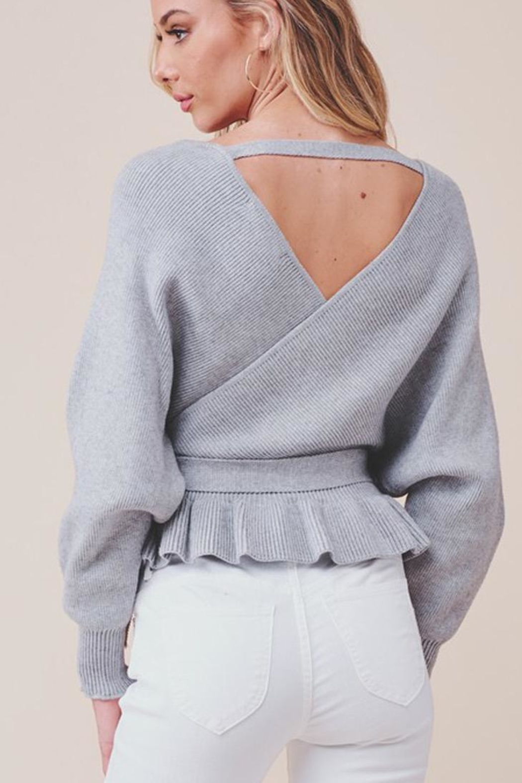 MOD&SOUL Grey Peplum Sweater - Front Full Image