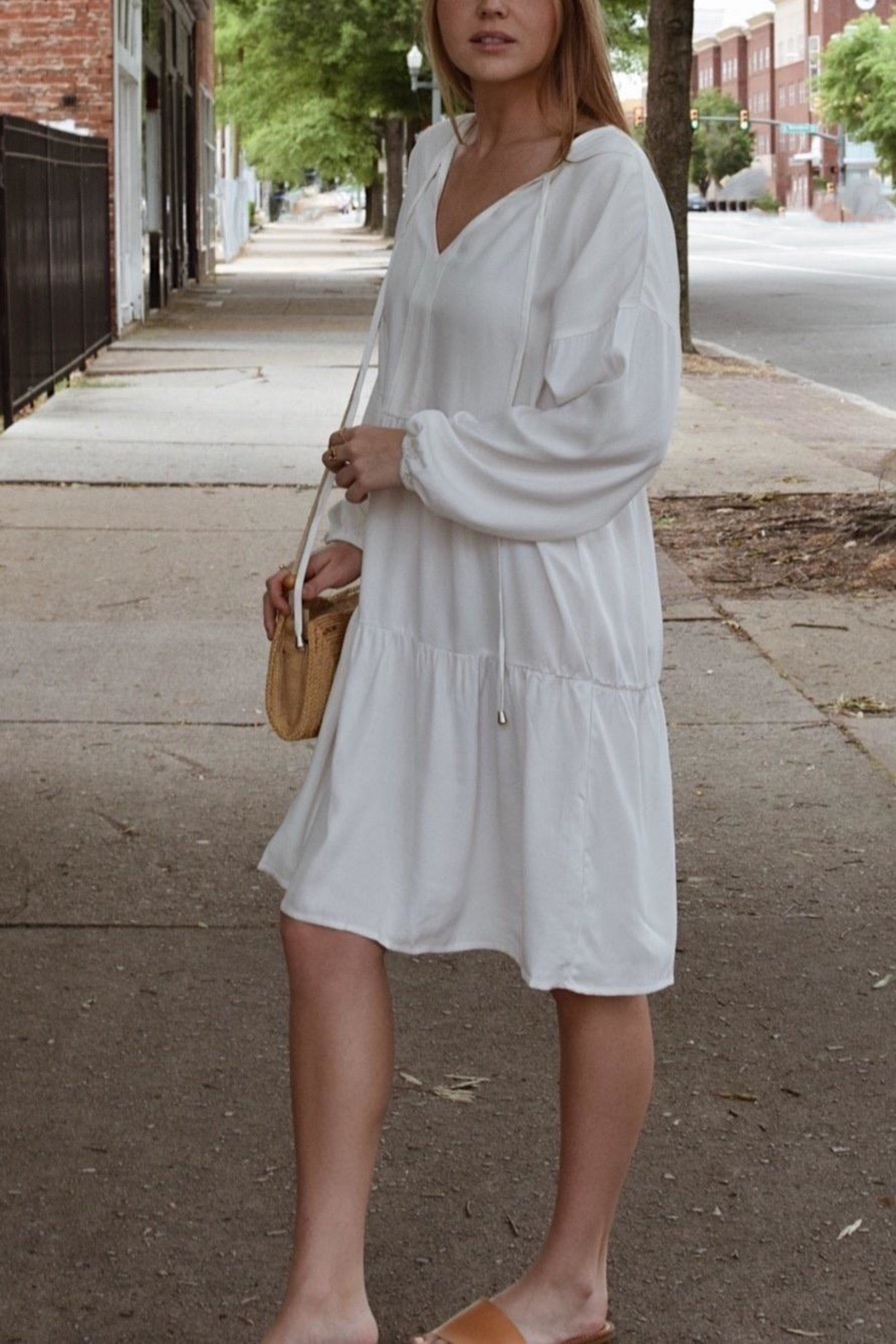 MOD&SOUL Long-Sleeve Tiered Tunic-Dress - Front Full Image