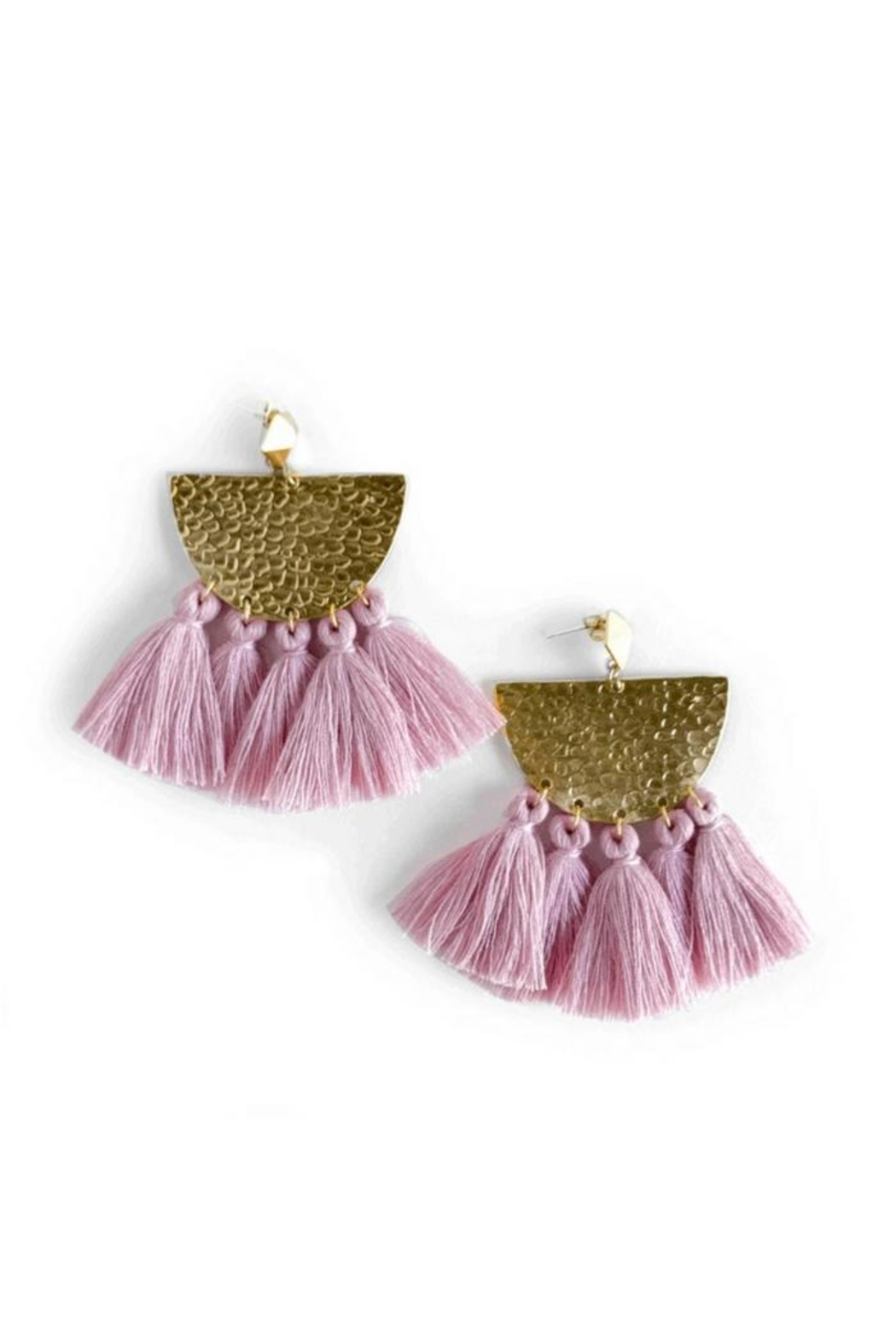 Mod & Jo Hammered Fringe Earrings - Front Cropped Image