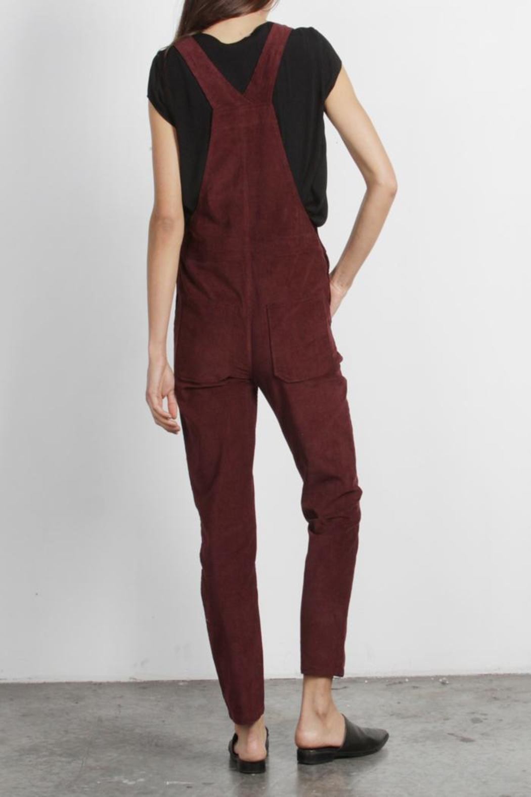 Mod Ref Burgundy Corduroy Overalls - Side Cropped Image