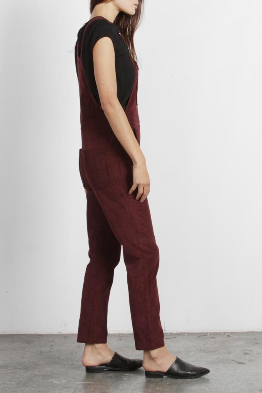 Mod Ref Burgundy Corduroy Overalls - Front Full Image