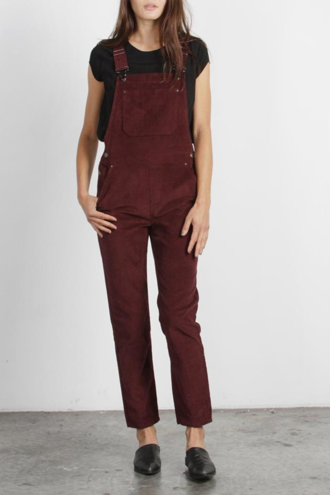 Mod Ref Burgundy Corduroy Overalls - Front Cropped Image