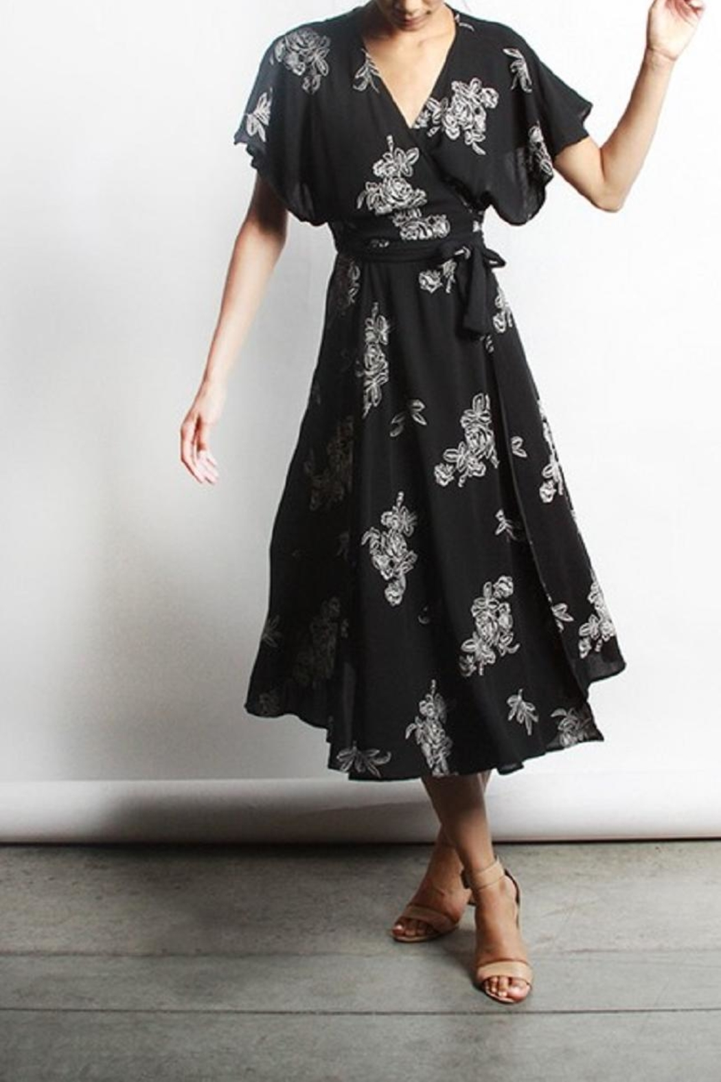 Mod Ref Floral  Wrap Dress - Front Cropped Image