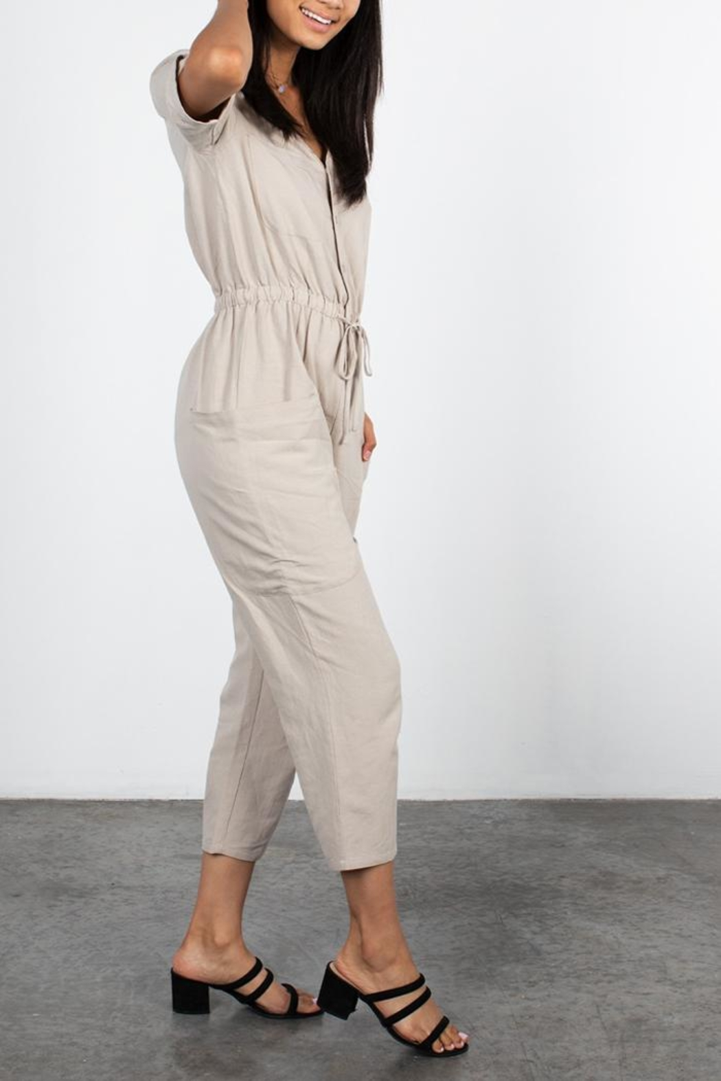 Mod Ref Taupe Jumpsuit - Side Cropped Image