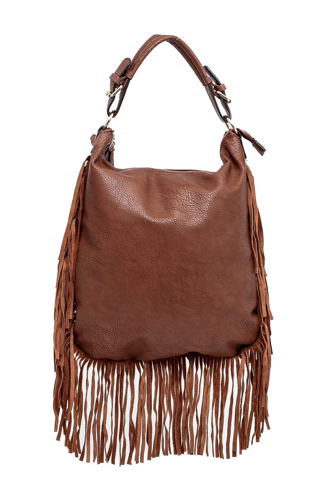 Moda Luxe Fringed Cognac Bag - Main Image