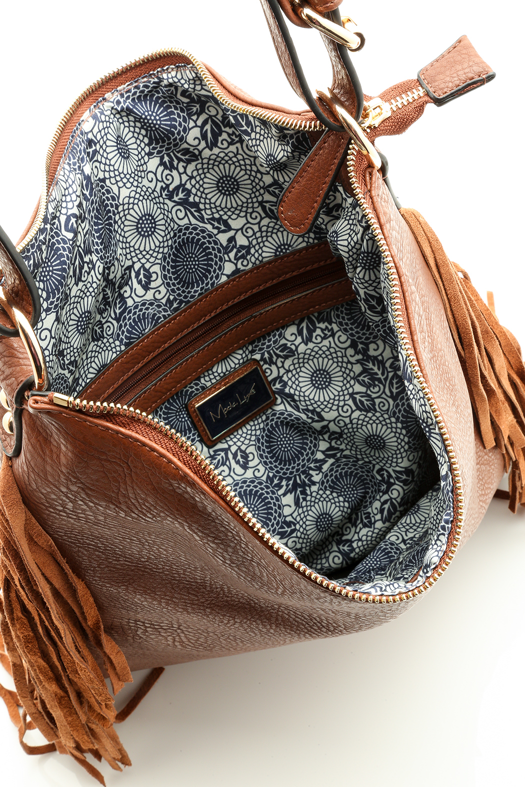 Moda Luxe Fringed Cognac Bag - Front Full Image