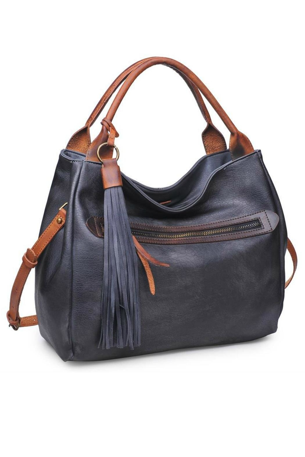 Moda Luxe Faux Leather Satchel - Front Full Image