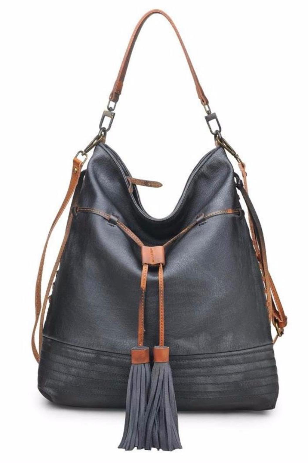Moda Luxe Antiqued Faux Leather Handbag Front Cropped Image