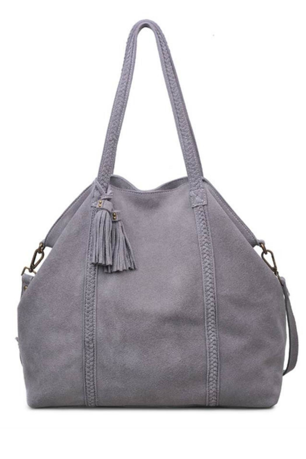 Moda Luxe Genuine Suede Tote - Front Cropped Image