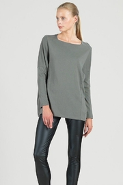 Clara Sunwoo Modal Cotton Knit Rectangular Boat Neck Modern Stitch Tunic - Product Mini Image
