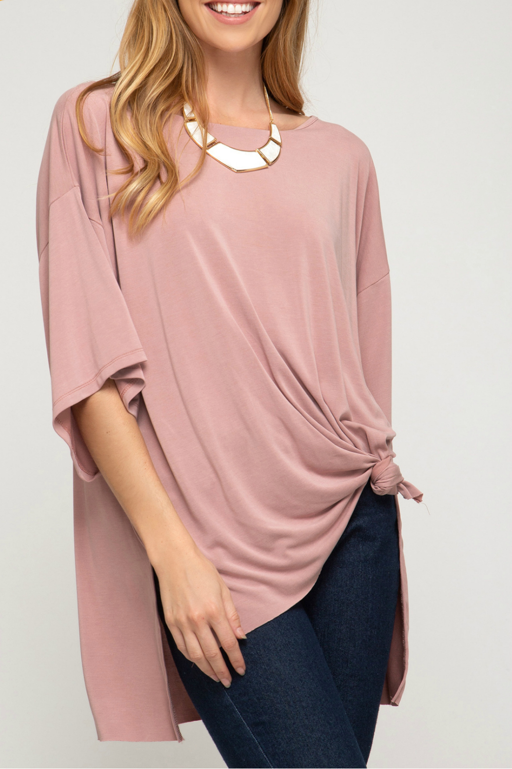 She & Sky  Modal cupro hi low oversized top - Main Image