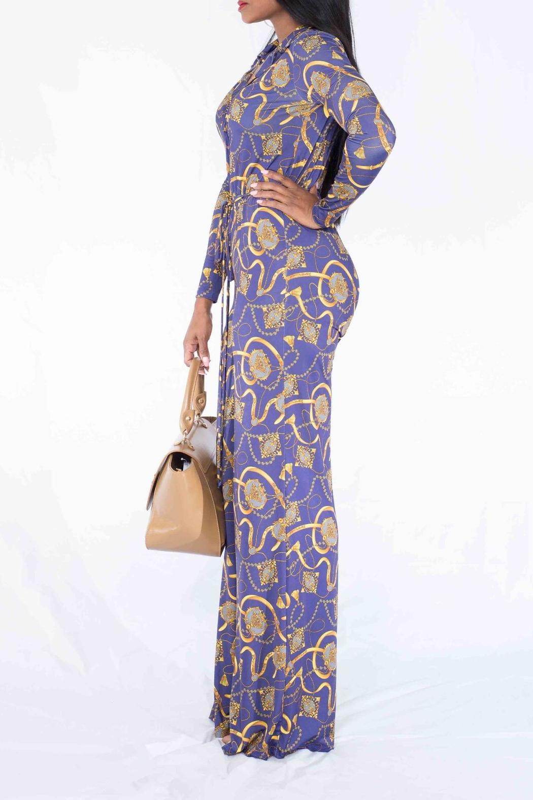 MODChic Couture Chain Print Jumpsuit - Front Full Image